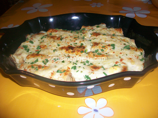 Crêpes gratinées aux épinards et blanc de poulet