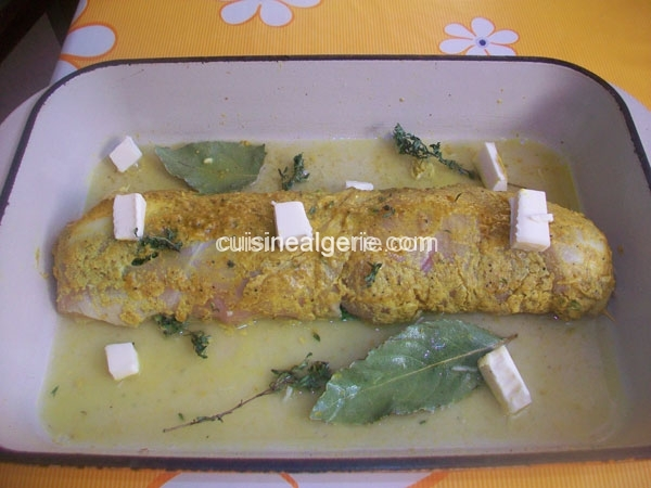 Rôti d'escalopes de poulet aux épinards